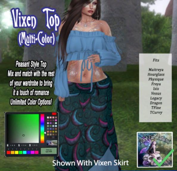 Dark Fairy Fashions _ DFF Vixen Top MultiColor Hud