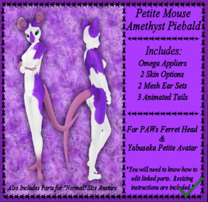 SKS Designs Petite Mouse Piebald Amethyst